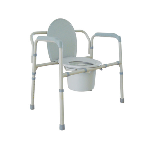 Heavy duty bariatric folding bedside commode chair