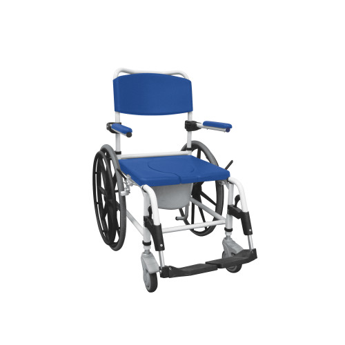 Aluminum shower mobile commode transport chair