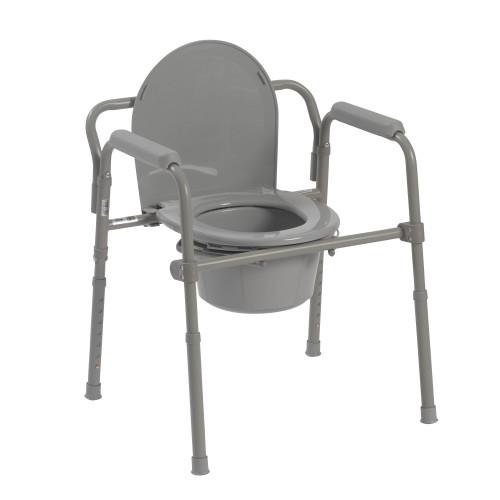 Steel folding DEEP seat bedside commode, gray