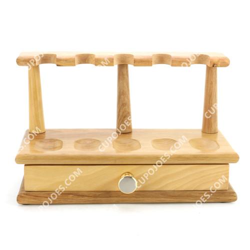 Arango Wooden 5 Pipe Rack w/ Drawer