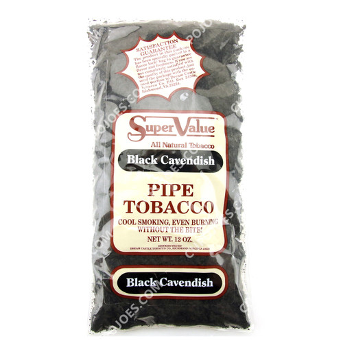 Super Value Black Cavendish Pipe Tobacco 12 Oz Bag