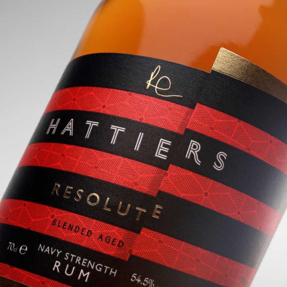 Resolute label close up