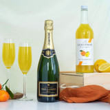 A beautifully present Mimosa gift set, everything you need to create this perfect classic cocktail.  Champagne and St Clements fruit juice