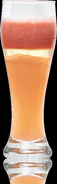 Blended beverage in glass blended by normal blender