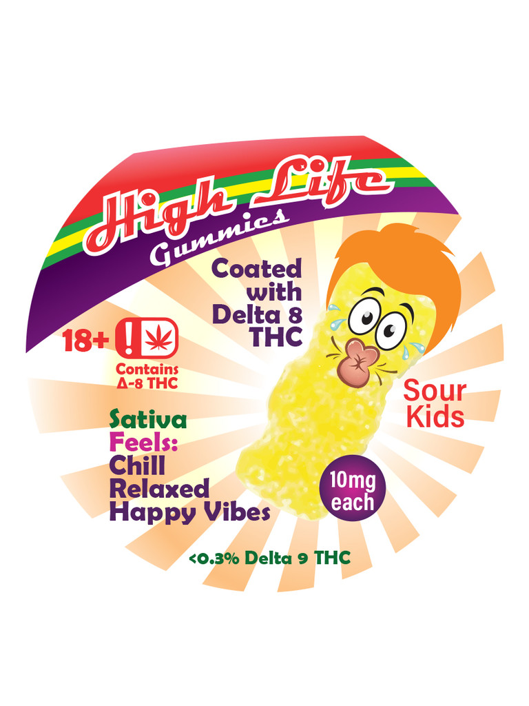Delta 8 High Life sour gummies label