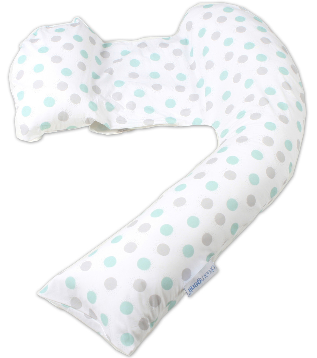 Dreamgenii Pregnancy, Support and Feeding Pillow Geo Grey/Aqua - includes free spare cover!