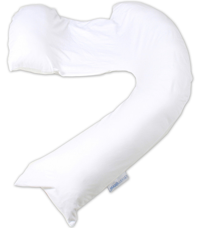 Dreamgenii Pregnancy, Support and Feeding Pillow White Jersey Cotton - with Free Pregnancy Bra