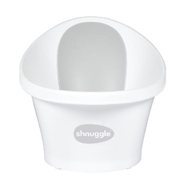 Shnuggle Baby Bath With Plug & Foam Backrest - White/Grey