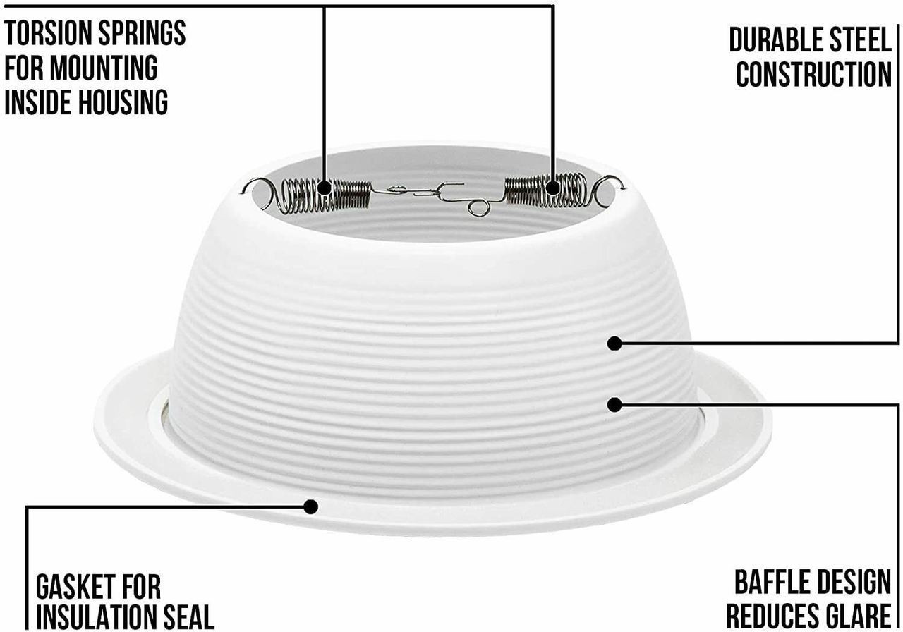 6 Pack 6 Inch Recessed Can Light White Baffle Trim Replaces Halo 310w R Par30 Four Bros Lighting