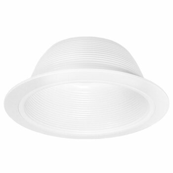 6 Inch White Baffle Recessed Can Light Trim, Stepped, for BR30/38/40, PAR30/38, LED, Incandescent, CFL, Halogen