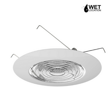 6 Inch Fresnel Glass Lens Trim with 8 Inch Plastic Ring, Waterproof Shower Light Cover, UL Listed for Wet Locations