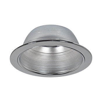 6 Inch - Stepped Sliver Baffle Trim - Silver Ring - R/PAR30
