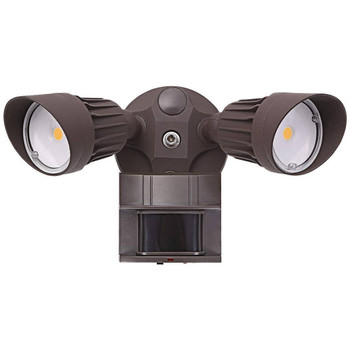 20W - Dual Head - LED Motion Sensor Security Light - Bronze- 5000K