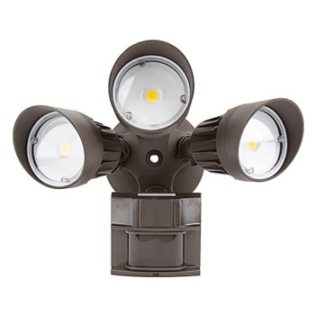30W - Triple Head - LED Motion Sensor Security Light - Bronze- 5000K