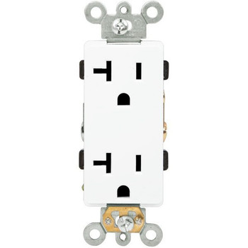 20 Amp - Decorator Duplex Receptacle White - 125 Volt