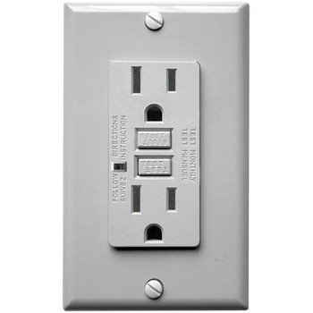 15 Amp Receptacle - GFCI Outlet - Gray - Wall Plate Included
