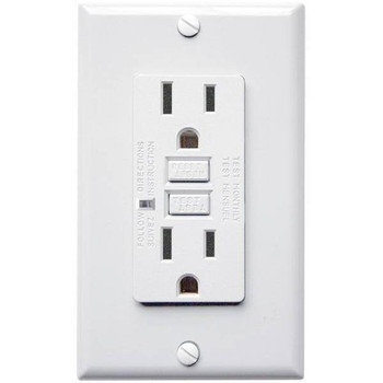 15 Amp Receptacle - GFCI Outlet - White - Wall Plate Included