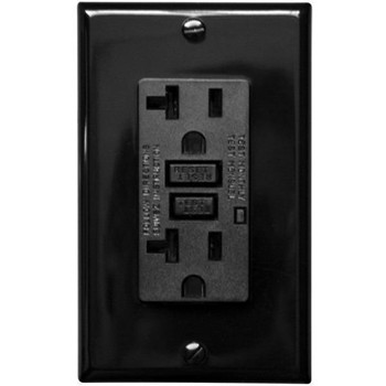 20 Amp Receptacle - GFCI Duplex Outlet - Black - Wall Plate Included