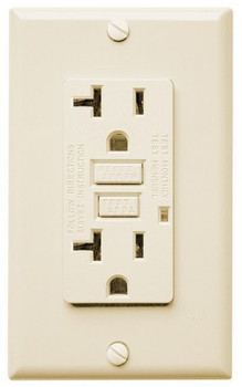 20 Amp Receptacle - GFCI Outlet - Ivory - Wall Plate Included