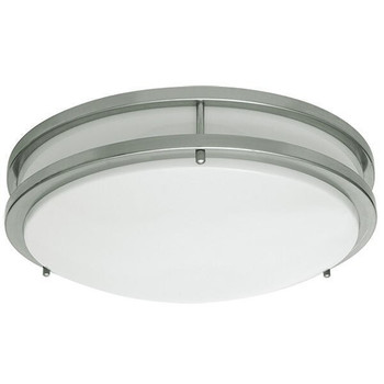 LED Flush Mount Ceiling Fixture - 14 Inch - 20W - 4000K - Nickel