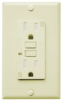 GFCI Receptacle - 15 Amp - Tamper/Weather Resistant - Ivory