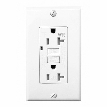20 Amp GFCI Outlet Electrical Receptacle with LED Indicator, 2-Wires 3-Poles, Tamper Resistant TR and Weather Resistant WR, Nylon Wall Plate and Screws Included, 125V, Self-Test UL2015