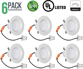 3 Inch Retrofit LED Downlight - 8 Watt - 50 Watt Incandescent Equal - Dimmable - Warm White - Integrated Smooth Trim - 120V - Title 24 Compliant - 550 Lumens Pack of 6