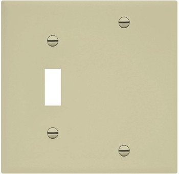 2-Gang Combination Wall Plate, One Blank, One Toggle, Almond