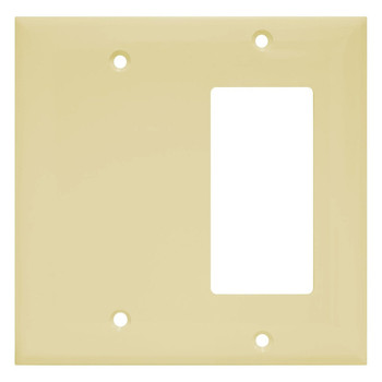 2-Gang Combination Wall Plate, One Blank, One Decora, Almond