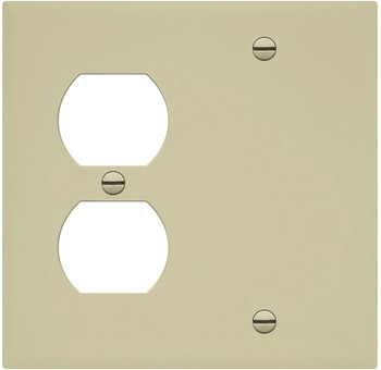 2-Gang Combination Wall Plate, One Blank, One Duplex, Almond