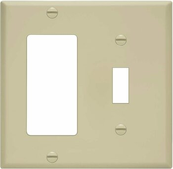 2-Gang Combination Wall Plate, One Toggle, One Decora, Almond