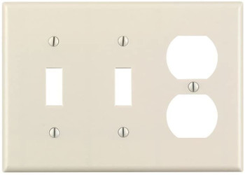 3-Gang Combination Wall Plate, Two Toggle, One Duplex, Almond