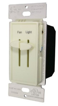 Double Slide Dimmer, Incandescent, Single Pole, 300W, 120V, Ivory
