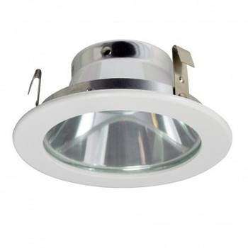 4 Inch Low Voltage MR16 Trim with Tampered Flat Glass, Reflector, White