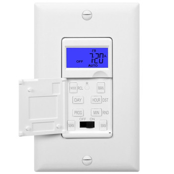7 Days Digital in-Wall Programmable Timer Switch for Lights, Fans, and Motors, Single Pole, Neutral Wire Required, 7-Day 18 ON/Off Timer Settings, with Blue Backlight, White