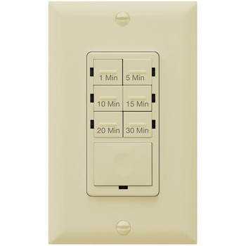 Countdown Timer Switch for bathroom fans and household lights, 1-5-10-15-20-30 Min Settings with Manual Override, Always On Blue LED, Neutral Wire Required, Ivory