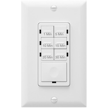 Countdown Timer Switch for bathroom fans and household lights, 1-5-10-15-20-30 Min Settings with Manual Override, Always On Blue LED, Neutral Wire Required, White
