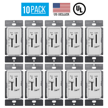 10 PACK DUAL SLIDER CEILING FAN LIGHT CONTROL LED DIMMER SWITCH SINGLE POLE