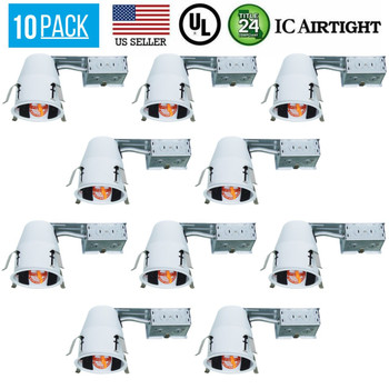10 PACK 4-INCH REMODEL CAN AIR TIGHT IC UL RECESSED HOUSING LED POT LIGHTING