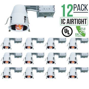 12 PACK 4-INCH REMODEL CAN AIR TIGHT IC UL HOUSING RECESSED LED LIGHTING