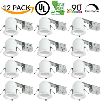 12 Pack - 4 Inch LED Recessed Remodel Baffle Can Light, 10 Watt 750 Lumens 3000K