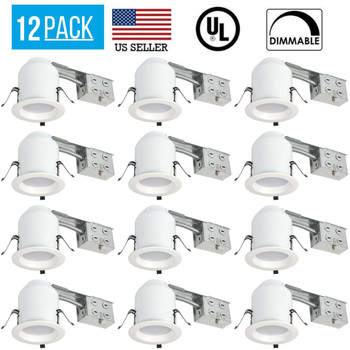 12 PACK 4 INCH LED RECESSED REMODEL HOUSING COMBO KIT, 10 WATT 750 LUMENS 5000K