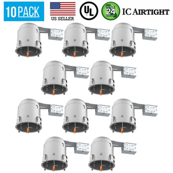 10 PACK 6-INCH REMODEL CAN AIR TIGHT IC UL RECESSED HOUSING LED POT LIGHTING