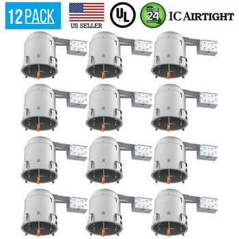 12 PACK 6-INCH REMODEL CAN AIR TIGHT IC UL RECESSED HOUSING LED POT LIGHTING