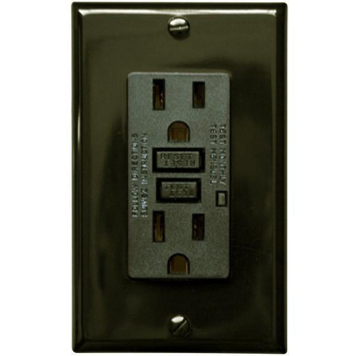 15 Amp Receptacle - GFCI Outlet - Brown - Wall Plate Included