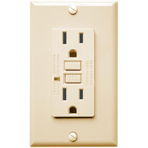 15 Amp Receptacle - GFCI Outlet - Ivory - Wall Plate Included