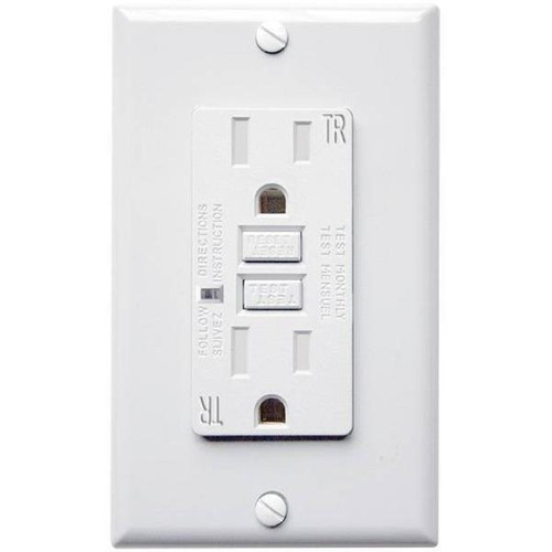 15 Amp Receptacle - GFCI Duplex Outlet - Tamper Resistant - White