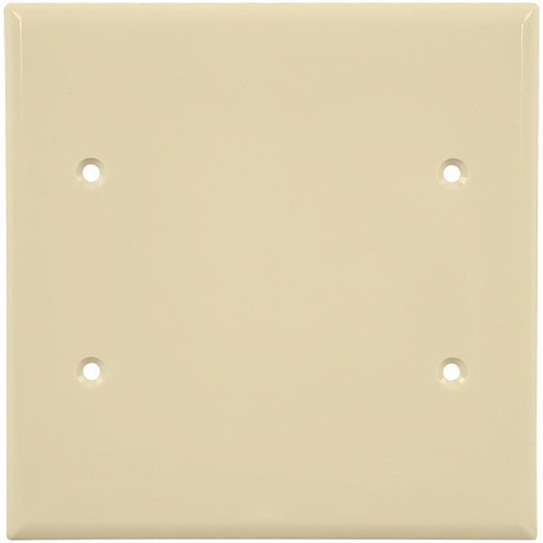 2-Gang Blank Wall Plate, Mid-Size, Almond