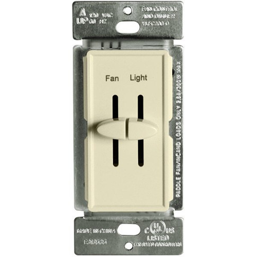 Fan Control and Incandescent Dimmer, 300W, Single Pole, Dual Slide, 120V, Almond