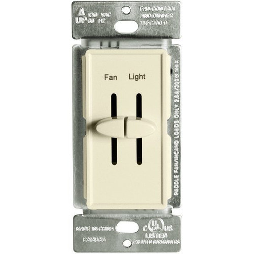 Fan Control and Incandescent Dimmer, 300W, Single Pole, Dual Slide, 120V, Light Almond